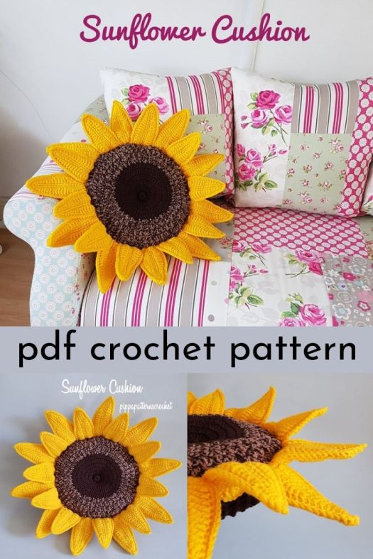 Fun and cheery sunflower cushion crochet pattern. Lovely handmade throw pillow to cheer up your living room! #crochetpattern #crochetpillow #crochetcushion #crochetsunflower #craftevangelist