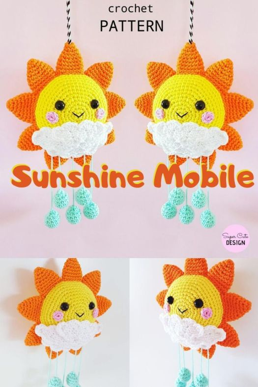 Cute and cheery sunshine mobile crochet amigurumi pattern. Perfect handmade baby's room decor idea! #crochetpattern #crochetmobile #crochetbabydecor #amigurumipattern #craftevangelist
