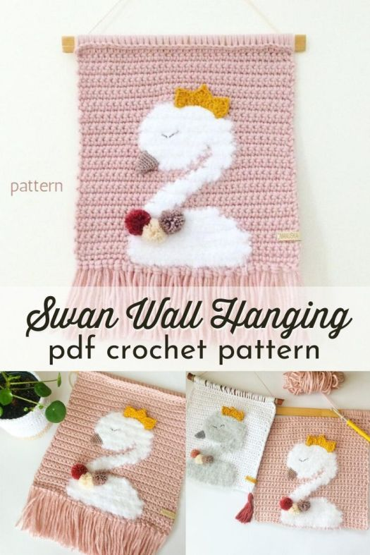 Pretty tapestry crochet wall hanging of a cute little swan. I think my mom would love this for Mother's Day! #crochetpattern #tapestrycrochet #tapestrycrochetpattern #crochetwallhanging #crochetswanpattern #swanpattern #swanwallhanging #craftevangelist