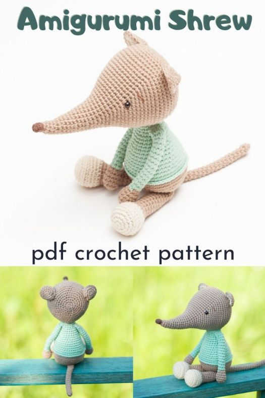 Amigurumi Shrew Crochet Pattern. What a fun and unique crochet pattern for a little shrew... the most underrated rodent! #crochetpattern #amigurmipattern #shrewpattern #crochetedscrew #craftevangelist