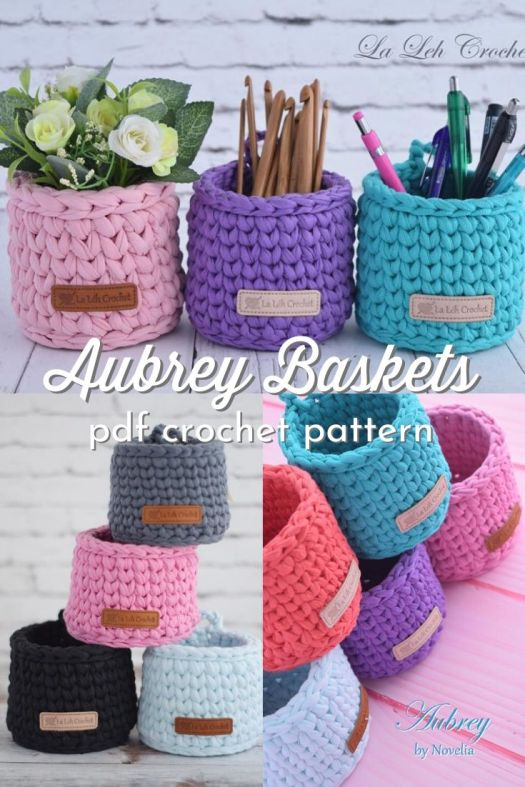 Aubrey Baskets. Cute, small crocheted baskets pattern. Perfect for storing pencils, craft supplies or bathroom things. Great crocheted storage baskets. Would make great plant cozies too! #crochetbasket #crochetstorage #crochetdecor #diydecor #craftevangelist