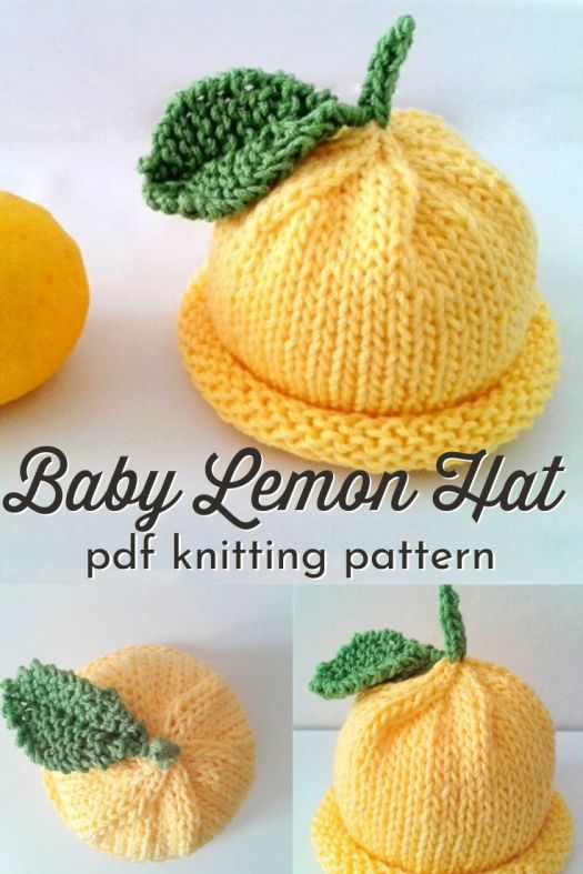 Sweet adorable baby lemon hat knitting pattern. can't wait to make one of these simple but cute baby beanies for a new little one! #knittingpattern #knithatpattern #babyknittingpatterns #craftevangelist