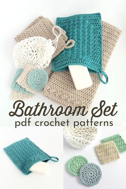 Bathroom Set of crochet patterns includes a washcloth pattern, guest towel pattern, wash mitt pattern, face scrubbies pattern & a laundry bag pattern. #crochetpattern #bathroompatterns #bathroomcrochet #crochetbathroompatterns #craftevangelist