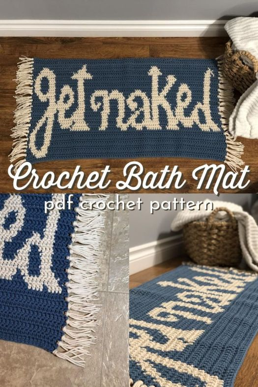 Get Naked crochet bath mat pattern. Fun bathroom decor with a modern farmhouse vibe. Love this cute and spunky diy crochet bath mat! #crochetpattern #crochetbathmat #crochetrug #bathroomcrochet #craftevangelist