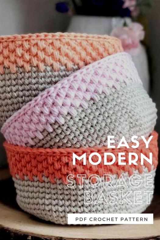 Easy Modern storage basket crochet pattern with lovely thick textured sturdy stitch pattern! Love this lovely looking pattern. This would be great to store small towels in my bathroom! #crochetpattern #crochetbasketpattern #crochetdecor #crochetorganization #craftevangelist