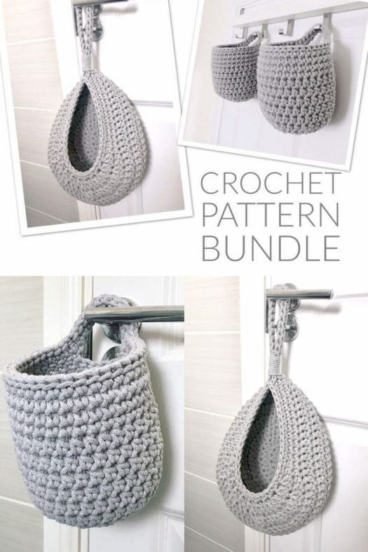 Hanging Crochet Basket Pattern Bundle. These little baskets would be perfect for the bathroom, for hanging little necessities next to the bathtub or where little hands can reach them! #crochetbaskets #crochetdecor #crochetstorage #crochetpattern #craftevangelist