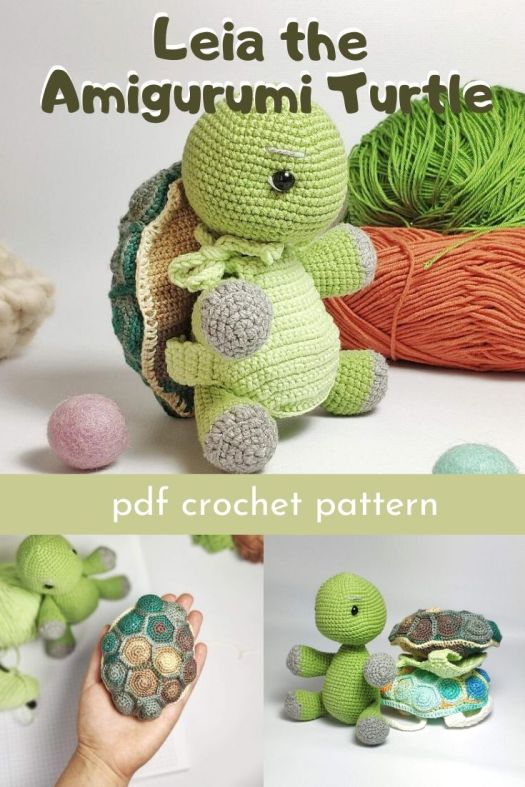 Such a fun and sweet little amigurumi turtle crochet pattern. I love Leia's sweet tie-on shell made of fun little hexagons. #amigurumipattern #crochetpattern #crochetturtle #crochettoy #craftevangelist