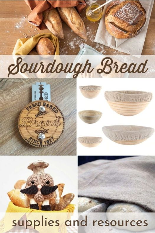 Sourdough Bread! Links to all the sourdough instructions and supplies that you need to make beautiful looking sourdough bread! #breadmaking #sourdoughbread #artisanbread #breadsupplies #craftevangelist