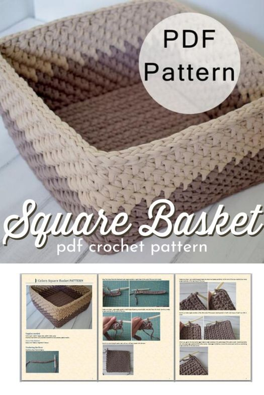Square basket crochet pattern, made with T-shirt yarn. I love this stitch! Looks so solid and perfect for organizing the bathroom. #crochetpattern #crochetbaskets #crochetstorage #crochetorganization #craftevangelist