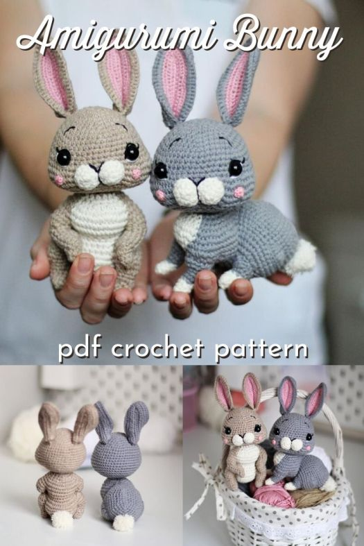 Sweet little amigurumi bunny pattern. 2 in 1 bunny body shapes. Make perfect handmade Easter gifts! Easter bunny crochet pattern. #crochetpattern #amigurumipattern #crochettoys #craftevangelist