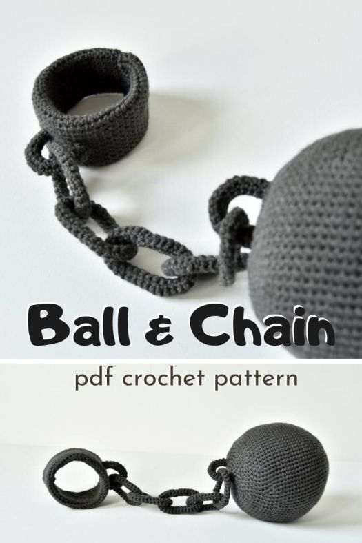 Ball and Chain amigurumi crochet pattern. What a funny prison ball and chain crochet pattern to make! Great for a diy costume or men's wedding gift. haha #crochetpattern #crochetballandchain #ball&chain #crafts #yarn #amigurumipattern #craftevangelist
