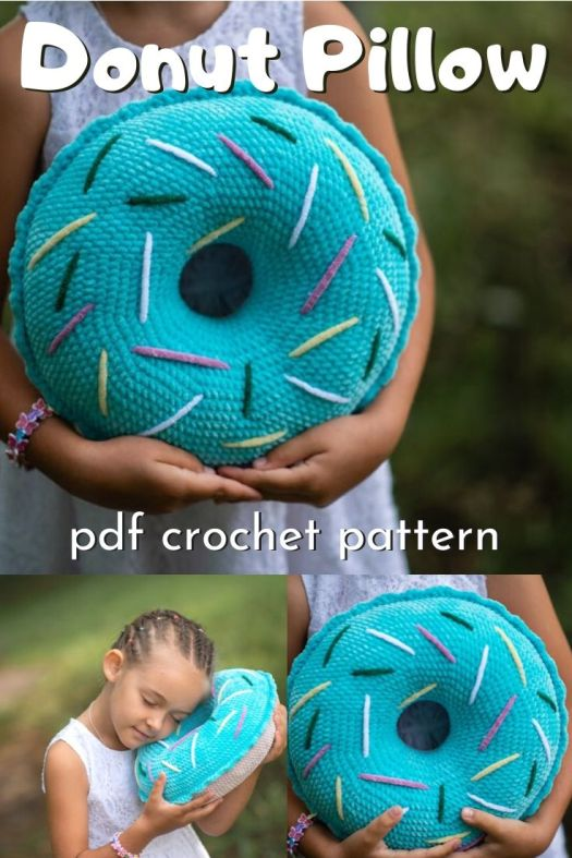 Super sweet donut pillow crochet pattern! Love this giant amigurumi donut crochet pattern. How much fun would this be for a handmade crocheted gift for a kid's room!? #crochetpillow #crochetpattern #donutpillow #crochetthrowpillow #crochetcushionpattern #craftevangelist