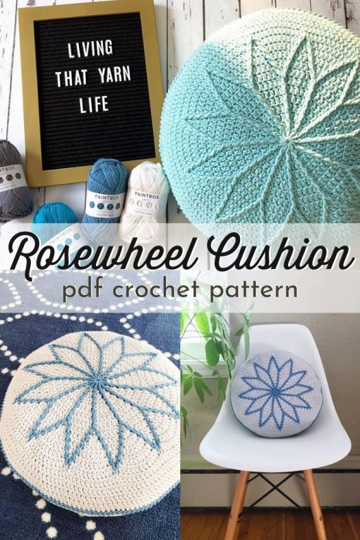 Fun textured pinwheel design with an embossed look on this crocheted pillow pattern. I love this diy cushion crochet pattern. Perfect quick project to refresh your decor! #crochetpattern #crochetpillow #pillowpattern #crochetthrowpillow #craftevangelist
