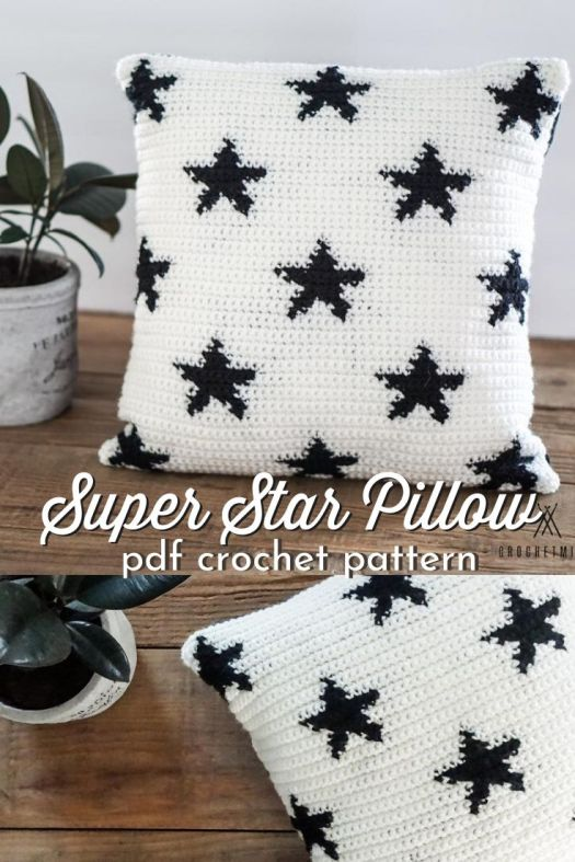 Super Star Pillow crochet throw pillow pattern. Love to make my own crochet pillow covers! So fun, perfect for a sophisticated teen's room or July 4 decor! #crochetpattern #superstarpillow #pillowcrochetpattern #crochetpillowpattern #craftevangelist