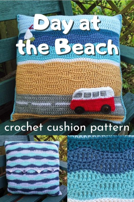 Fun crocheted cushion cover pillow pattern! Love this day at the beach campervan pillow! Perfect summer, deck or beach house decor! Love this! #crochetpattern #cushionpattern #crochetpillow #crochetcushion #craftevangelist