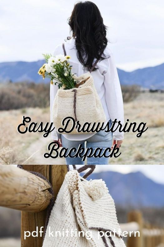 Beautiful drawstring backpack knitting pattern. So easy to make and easy to use. Tight stitches make it versatile to carry anything! Lovely quick and easy design! #knittingpattern #knitbackpack #handmadebackpack #craftevangelist