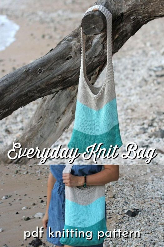 Beautiful simple and fabulous Everyday Knit Bag Easy Knitting Pattern. Even beginner knitters can handle this gorgeous handmade handknit bag knitting pattern. Perfect relaxed look for the beach! #knittingpattern #knithandbag #knitshoulderbag #knitbeachbag #craftevangelist