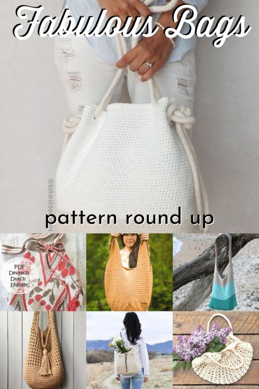 10 Gorgeous Fabulous Handmade Bag Patterns. I love these gorgeous and simple handbags, perfect for toting your stuff this summer! #crochetpattern #knittingpattern #patternroundup #handmadehandbag #craftevangelist