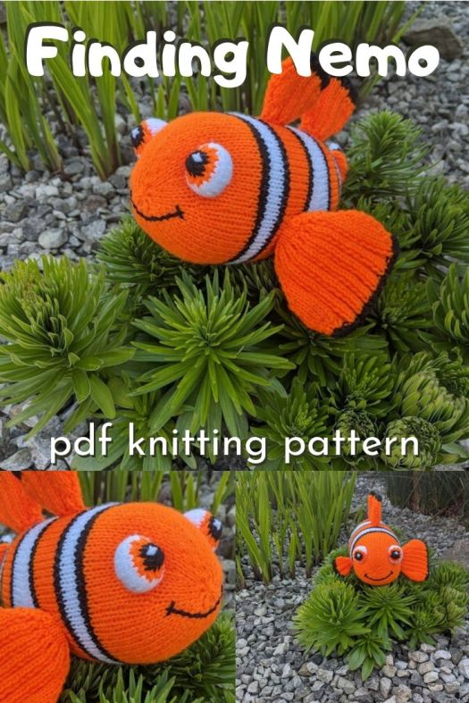 This adorable stuffed Nemo pattern is knitted! Finally a knitting pattern for a cute stuffed toy! I love this adorable clown fish knitting pattern! Can't wait to make one! #knittingpattern #knittingamigurumipattern #knittoys #knittedfish #handmadedisney #findingnemo #findingnemotoy #craftevangelist