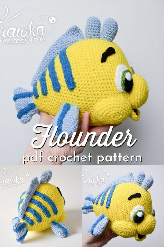 "Sweet little amigurumi yellow flounder fish crochet pattern. Inspired by Disney's The Little Mermaid's fish sidekick ""Flounder"", this sweet little stuffed animal crochet pattern is the perfect little gift for the Little Mermaid lover (or her brother!) #crochetpattern #amigurumipattern #craft #yarn #handmadedisney #thelittlemermaid #craftevangelist"
