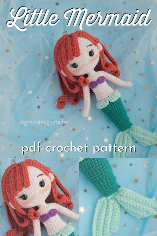 This downloadable pdf crochet pattern is perfect for making an Ariel inspired Disney's Little Mermaid amigurumi stuffed handmade crocheted doll! Love this adorable looking Disney princess crochet pattern. Lovely with the Under the Sea inspired patterns! #crochetpattern #amigurumipattern #dollpattern #handmadedisney #craftevangelist