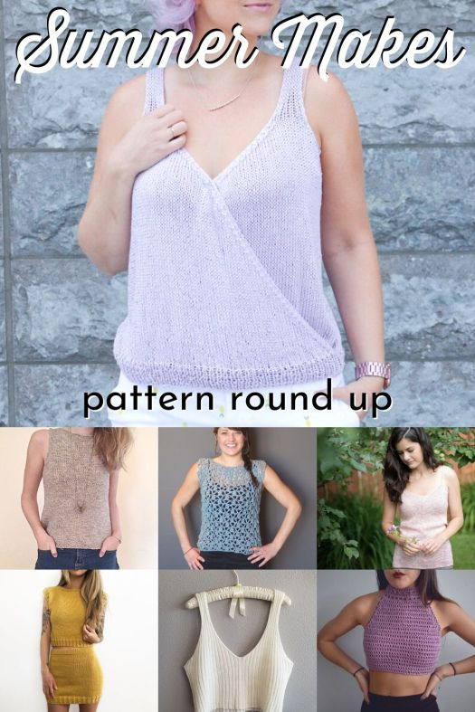 Cute collection of summer knit and crocheted tops with a couple of knit skirt patterns. What a great round up of summer patterns to make #knittingpatterns #crochetpatterns #summerknits #summercrochet #patternroundup #craftevangelist