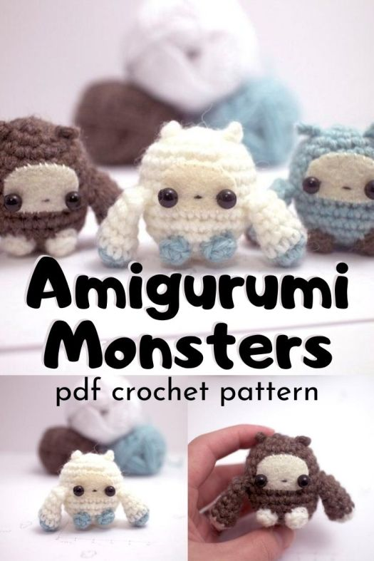 I love these quick and easy amigurumi monster crochet patterns. These are such a fun idea to use up extra bits of yarn and make sweet little toys for kids or adults! #crochetpattern #amigurumipattern #miniamigurumi #amigurumimonster #tinyamigurumi #crafts #yarn #craftevangelist