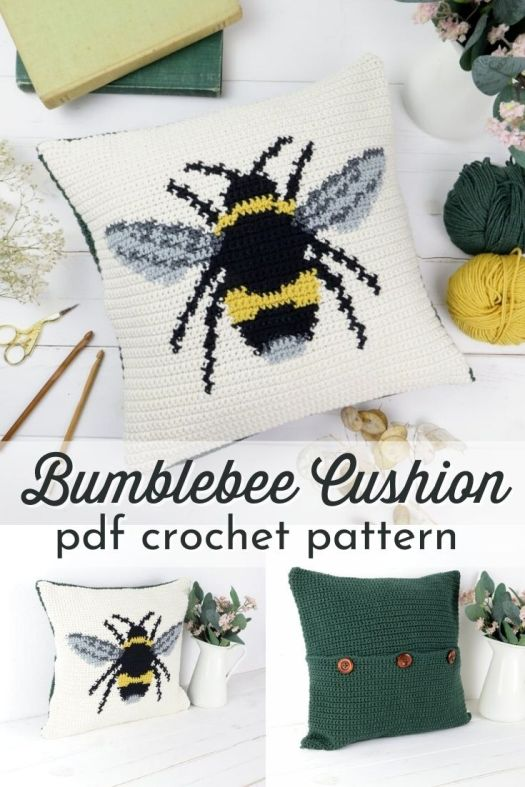 Such a fun bumblebee pattern on this gorgeous crocheted cushion! This would make a great throw pillow for my sitting room! I can't wait to make one of these fantastic cushion covers! #crochetpattern #crochetcushion #pillowpattern #crochetpillow #bumblebeepattern #tapestrycrochet #yarn #crafts #craftevangelist