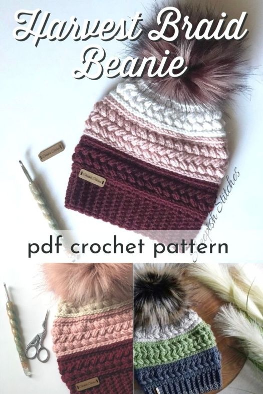 Gorgeous textured crochet beanie pattern in this Harvest Braid hat! I love the luxurious faux fur pom to top this lovely hat! The perfect pattern to use up some of that stash yarn! #crochetpattern #crochetbeaniepattern #beaniepattern #fallcrochet #crafts #yarn #craftevangelist