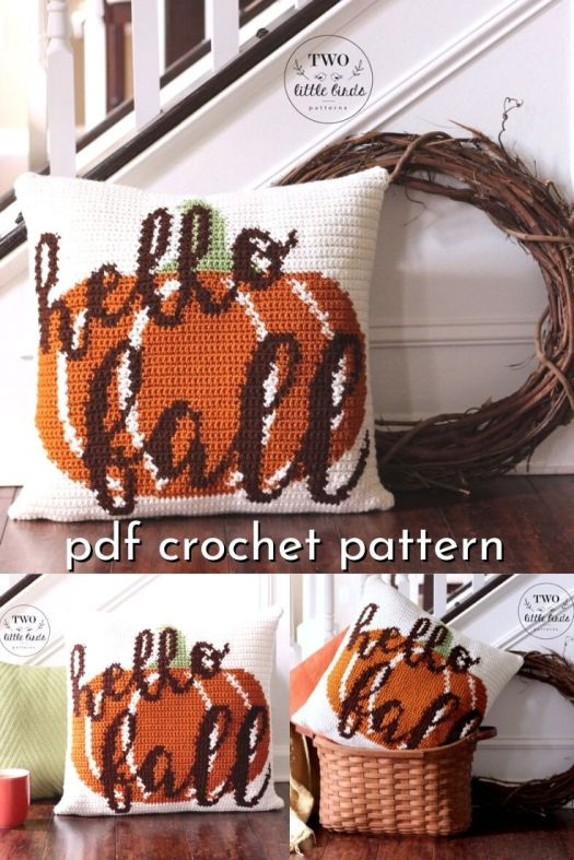 Hello Fall Pumpkin and Script Crochet Pillow Pattern. This is such a fun fall crochet pattern, perfect for some rustic farmhouse fall decor! #crochetpattern #crochetdecor #falldecor #fallpatterns #fallcrochet #hellofall #crochetpillow #crochetthrowpillow #crafts #yarn #craftevangelist