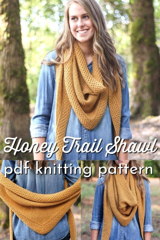 Lovely textured knit shawl pattern, perfect for fall. I love it in this mustard colour! Perfect to work on as the weather gets cooler. Lovely transitional scarf. #knittingpattern #knitshawlpattern #knitting #yarn #crafts #craftevangelist