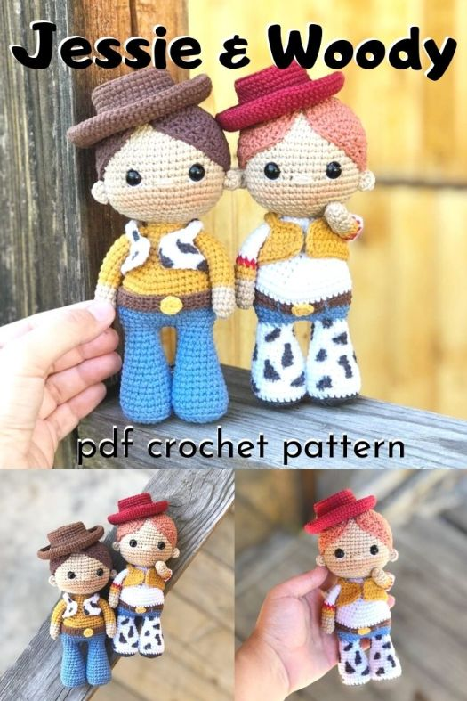 Adorable little Disney Toy Story inspired dolls named after Jessie and Woody. Little cowboy dolls amigurumi crochet patterns! Super fun. #crochetpattern #amigurumipattern #handmadedolls #crafts #yarn #craftevangelist