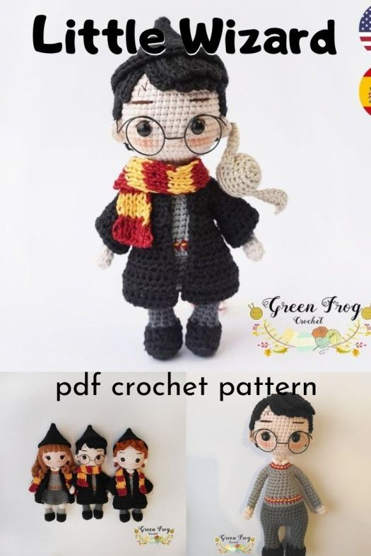 Super cute Harry Potter inspired wizard doll amigurumi pattern. How sweet is this little doll?! Love it! #amigurumipattern #crochetpattern #harrypotter #wizarddoll #crafts #yarn #craftevangelist
