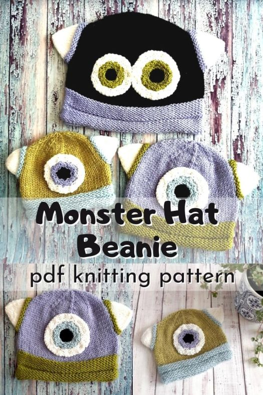 Super cute and fun monster hat beanie knitting pattern. It's so fun to find a pattern like this that is knit and not crocheted! #knittingpattern #knithatpattern #knitmonsterhat #monsterhat #halloweenhat #knithat #yarn #crafts #craftevangelist