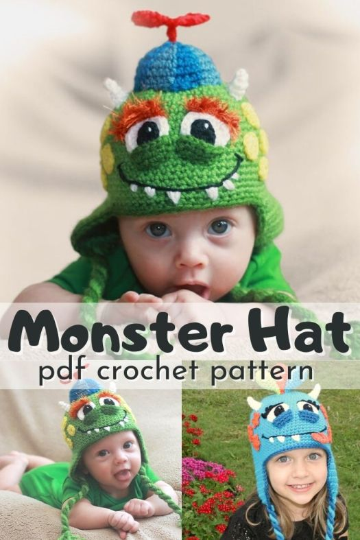 Such a cute monster hat crochet pattern! This adorable beanie is incredibly customizable so you can make unique monster beanies for all the sweet kids in your life! Perfect to keep little heads warm on Halloween! Perfect easy baby Halloween costume with one easy accessory! #crochetpattern #crochethat #crochetbeanie #halloweencostume #crochet #yarn #crafts #craftevangelist