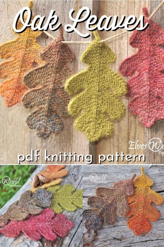 Oak Leaves Knitting Pattern. Lovely little fall ornaments, perfect to make as an autumn bunting or to accompany placards at the Thanksgiving table. Scatter them on your mantel for sweet handknit fall decor! #knittingpattern #knitleaves #leavespattern #oakleavespattern #handmadedecor #handknitdecor #yarn #crafts #craftevangelist