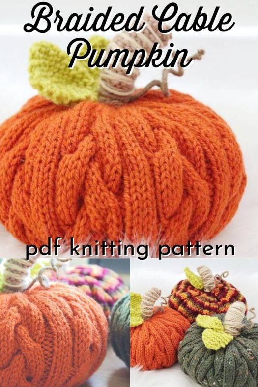 I love the fun braided cable texture on these sweet little pumpkins! What a great way to add some sweater like cosiness to your fall mantel decor! #knitpumpkinpattern #knitpumpkin #cableknit #cableknitpattern #knittingpattern #pattern #amigurmipattern #amigurumipumpkin #yarn #crafts #TundraKnits #craftevangelist