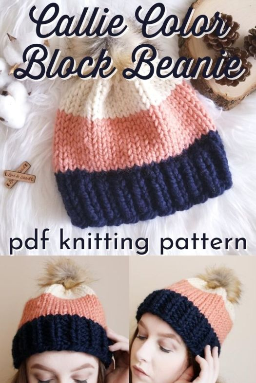 Easy color block knit hat pattern. Lovely and simple beginner knitting pattern with three colors of super bulky yarn, so it knits up quickly. #knittingpattern #knithatpattern #hatpattern #knittoquepattern #knitbeaniepattern #beaniepattern #toquepattern #yarn #crafts #LoveandStitchDesigns #craftevangelist