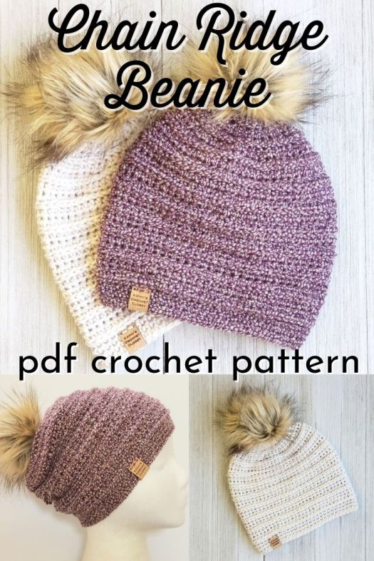 Lovely ridged beanie crochet pattern. Super cute slouchy winter hat pattern to make with worsted weight yarn. Gorgeous with a faux fur pompom! #crochetpattern #crochetbeaniepattern #crochethatpattern #crochettoquepattern #beaniepattern #hatpattern #diyhat #diybeanie #yarn #crafts #kathyscrochetcloset #craftevangelist