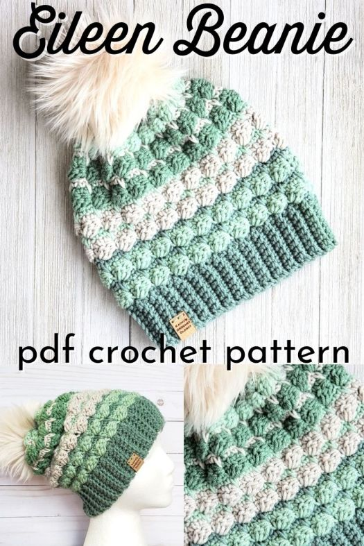 Adorable textured crochet beanie made with cluster stitch stripes! This crochet pattern uses worsted weight yarn so it is perfect for using up your stash! #crochetpattern #crochetbeaniepattern #crochethatpattern #crochettoquepattern #slouchyhatpattern #hatpattern #beaniepattern #yarn #crafts #kathyscrochetcloset #craftevangelist