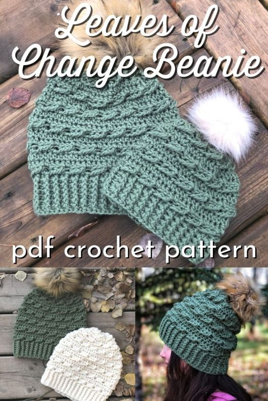 Super cute textured crochet pattern for this Leaves of Change beanie crochet hat pattern. Good pattern for Bernat Super Value or Bernat Premium yarn. Works up quickly! Great hat to make and give or for markets! #crochethatpattern #crochetpattern #crochetbeaniepattern #beaniepattern #crochetbeanie #crochettoque #toqupattern #HookYarnsandLoops #craftevangelist