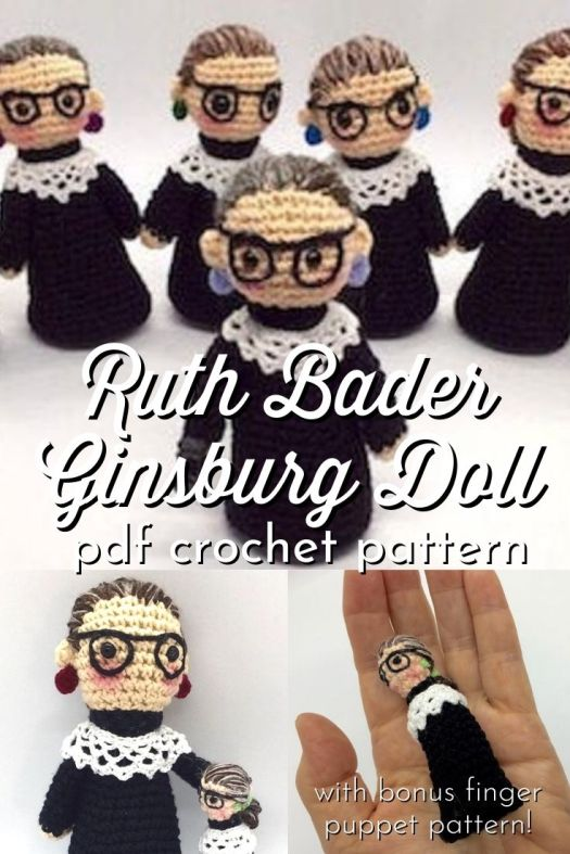 Ruth Bader Ginsburg Doll amigurumi crochet pattern. Fun little doll pattern, perfect for a new lawyer/law school grad or RBG fan parent to be! #RBG #notoriousRBG #RuthBaderGinsburg #amigurumipattern #crochetpattern #RBGcrochet #amigurumidollpattern #amigurumifingerpuppet #yarn #crafts #pennybiz #craftevangelist