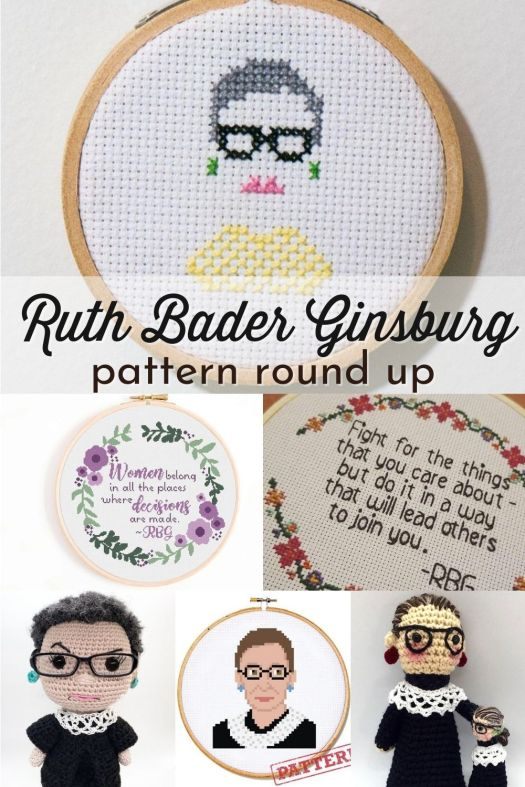 Collection of Ruth Bader Ginsburg inspired patterns: cross-stitch, crochet and SVG files of the notorious RBG to honour this special woman. #RBG #ruthbaderginsburg #crossstitch #embroidery #amigurumi #crochet #yarn #crafts #craftevangelist #patternroundup