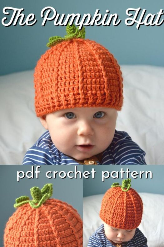 Adorable pumpkin hat crochet pattern in 4 sizes, from baby to adult! I love this fun crochet hat pattern, perfect little pumpkin heads! #crochethat #pumpkinhat #crochetpattern #hatpattern #yarn #crafts #crochetpumpkin #HanJanCrochet #craftevangelist