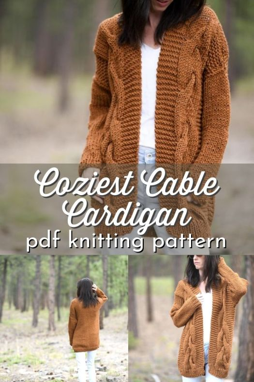 Cable-knit cardigan pattern. Lovely length on this gorgeous knit sweater pattern! #knitcardiganpattern #knittingpattern #knitsweater #knitcardigan #knitsweaterpattern #MamaInAStitch #CraftEvangelist