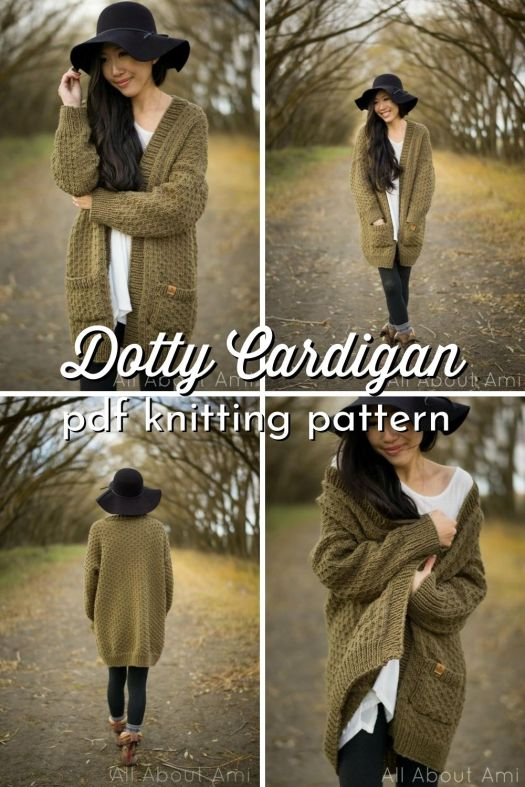 Beautifully textured knit cardigan pattern from All About Ami. Love this simple knit textured knit sweater pattern! #knittingpattern #knitcardigan #knitcardiganpattern #chunkycardiganpattern #AllAboutAmi #CraftEvangelist