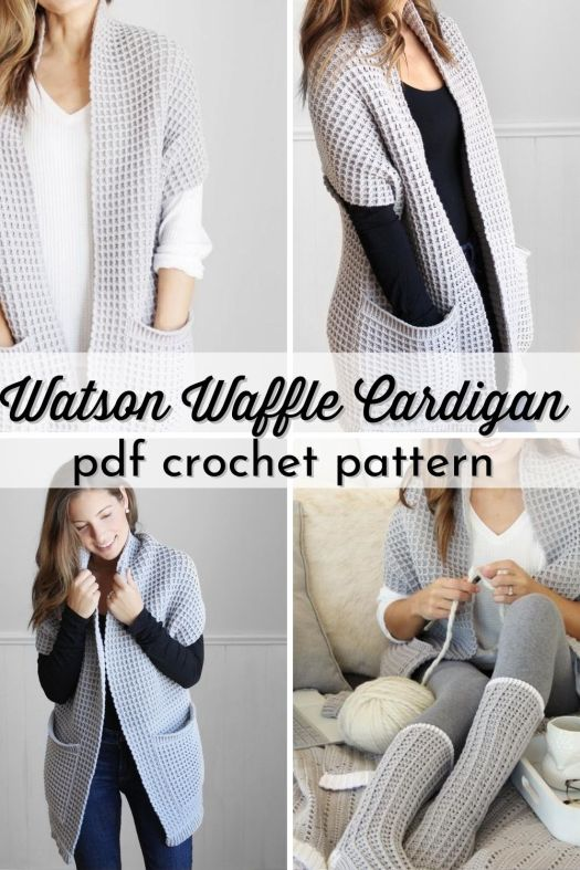 You will enjoy crocheting this Watson Waffle Cardigan, a chunky sweater with a long length and large pockets! Cozy and perfect for fall! This pattern comes in 16 SIZES from baby to 5 XL! #crochetpattern #crochetsweater #crochetcardigan #cardiganpattern #sweaterpattern #yarn #crafts #LakesideLoops #CraftEvangelist