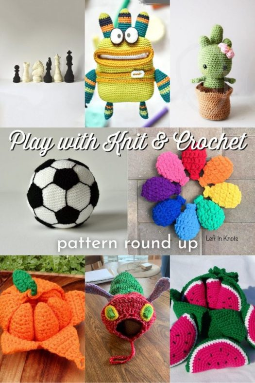 Have fun with your knit and crochet by making these adorable toys, games and interactive knit and crochet patterns! Great collection of fun patterns to make. Mostly crochet. #PatternRoundUp #CrochetPatterns #CrochetPattern #Yarn #Crafts #KnittingPattern #AmigurumiPatterns #Amigurumi #SoccerBallCrochet #CrochetedToys #CrochetedGames #CraftEvangelist