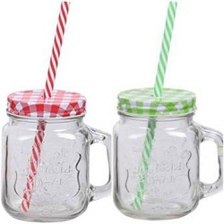 transparent mason jar with straw and handle 500ml set of 2 piece