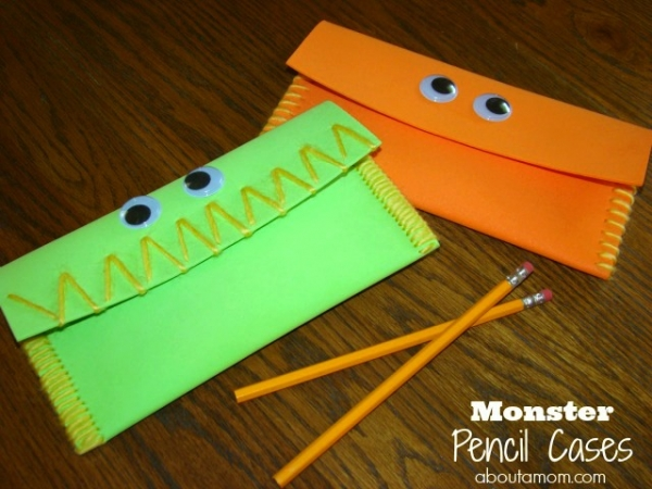 Monster Pencil Case Back to School Craft for Kids - About a Mom